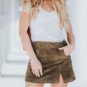 Blank NYC Suede Leather Mini Skirt with Slit